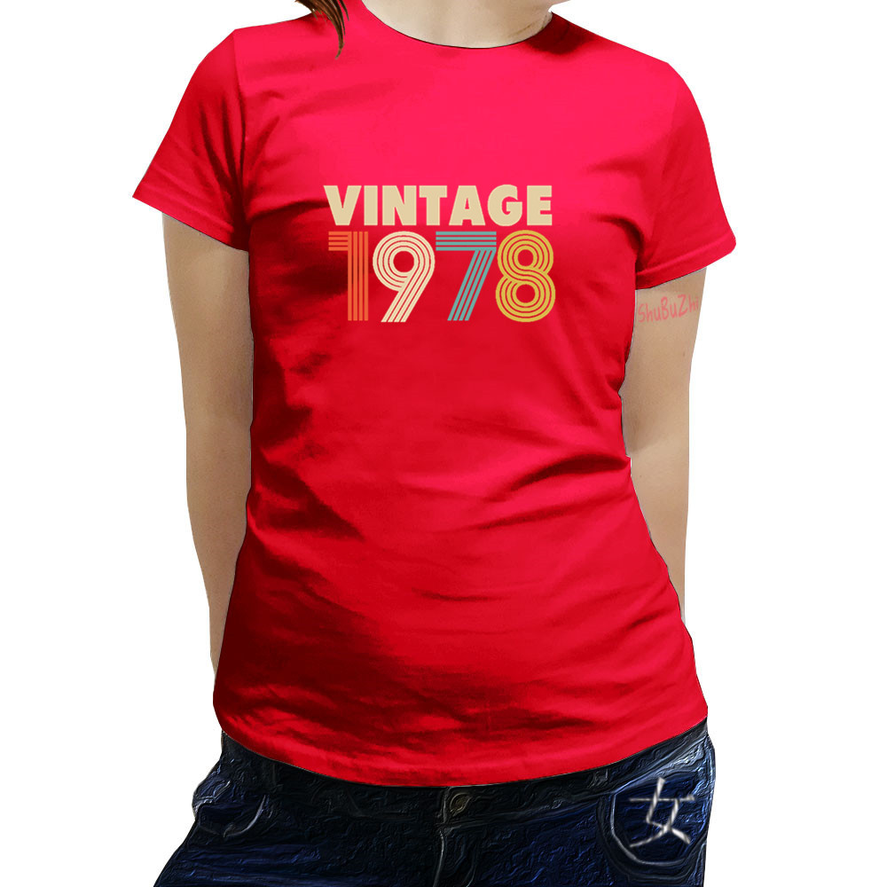 Vintage Since 1978 40th Birthday Gift Funny LadiesWomans Cotton T Shirt