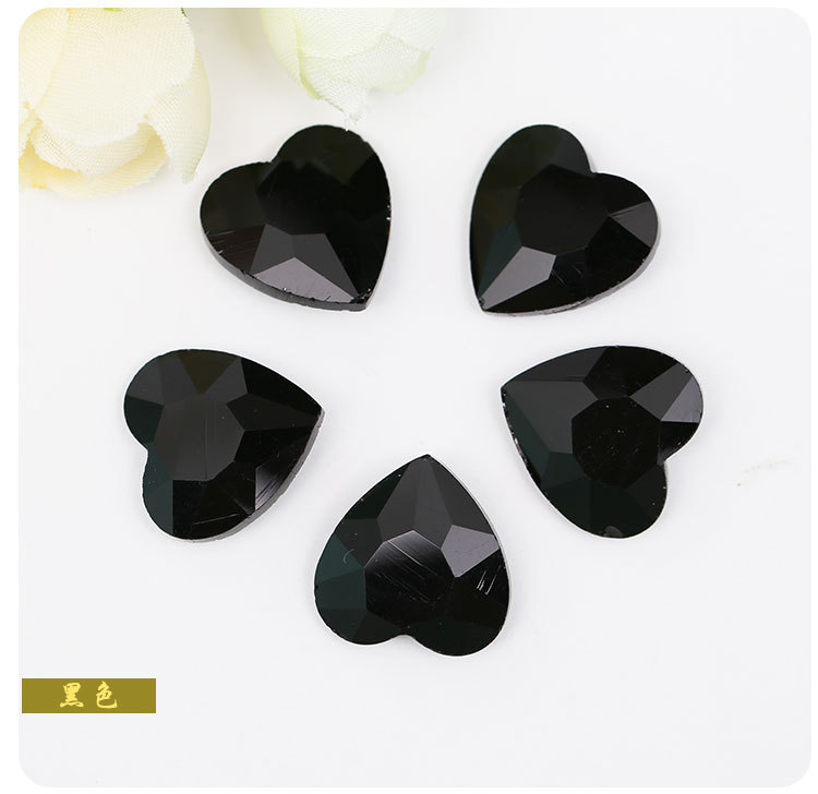Jewelry accessories black heart-shaped Pointed bottom glass crystal rhinestones apply to DIY Watch and Clothing Decoration 20pcs