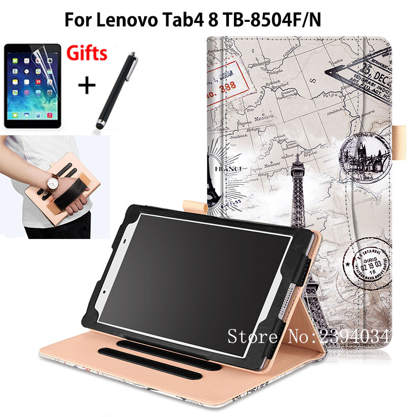High Qualtiy Case For Lenovo Tab4 8 TB-8504F TB-8504N 8 Smart Cover Funda Tablet PU Leather Hand Holder Stand Shell+Film+Pen magnetic stand smart pu leather cover for lenovo tab 4 8 tb 8504f 8504n 8 0 tablet funda case free screen protector stylus pen