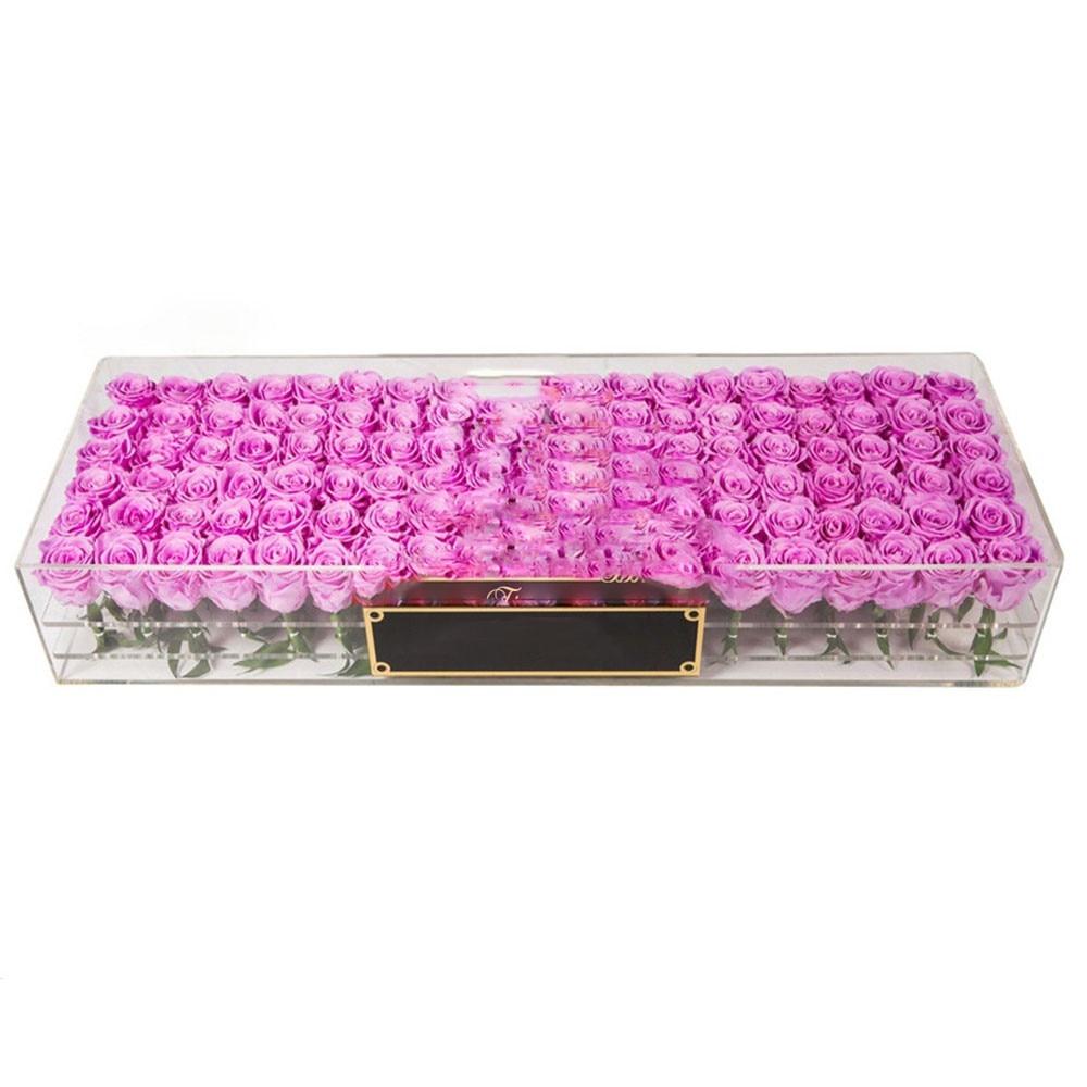 Jour de Valentine Rose Acrylique 100 boîte à fleurs Fleur boîte de rangement Papier Emballage coffret cadeau Pour Les Filles