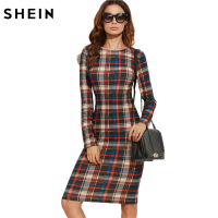 SheIn Elegant Bodycon Dress Winter Autumn Dress Fall 2016 Multicolor Plaid Long Sleeve Knee Length Pencil