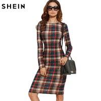 SheIn Elegant Bodycon Dress Winter Autumn Dress Fall 2016 Multicolor Plaid Long Sleeve Knee Length Pencil