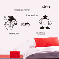 9249 Free Shipping Creative Cartoon Wall Stickers Study Idea Inwention For Kids Room Decorations Home Decals