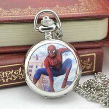 Hot Sell Small Size Silvder Case Spider man Quartz Fob Pocket Watch Necklace Chain Women Sweater Chain 100pcs/lot Wholesell