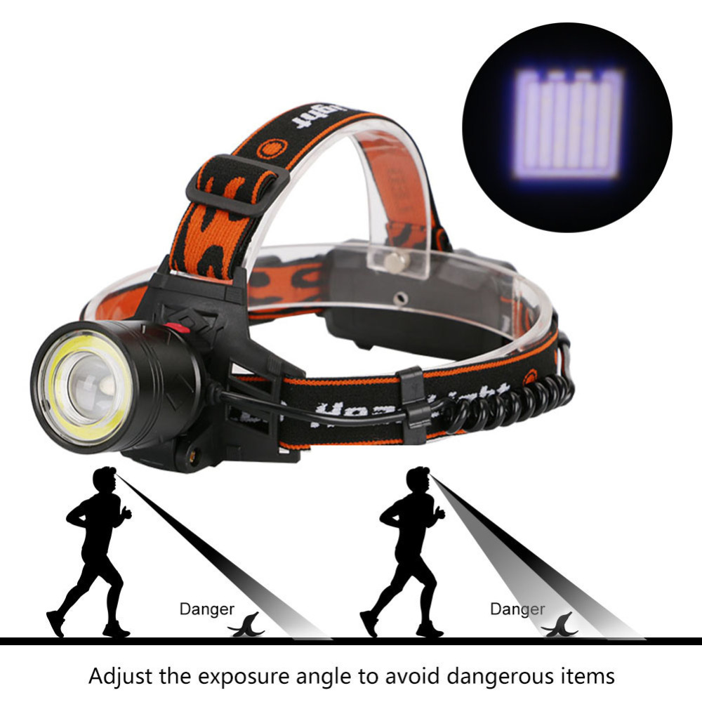 USB Charging LED Headlight Headlamp Zoom 4 Model Torch Head 1*XML-T6+1*COB LED Head Lights Lamp by 18650 Battery 8000lm usb rechargeable head lamp torch xml t6 cob led white red light headlamp frontal led running headlight usb cable by 18650