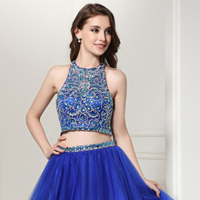 Hot Sale Shining 2 Piece Homecoming Dresses 2017 Halter With Luxury Crystal Beaded Puffy Sexy Short Prom Party Gowns In Stock