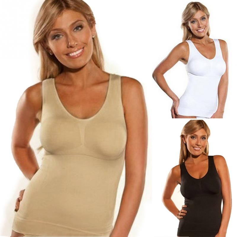 Hot Body Shaper Slim Up Lift Plus Size Bra Cami Tank Top Women Body Shaper Removable Shaper Underwear Slimming Vest Shapewear printed handerchief cami top