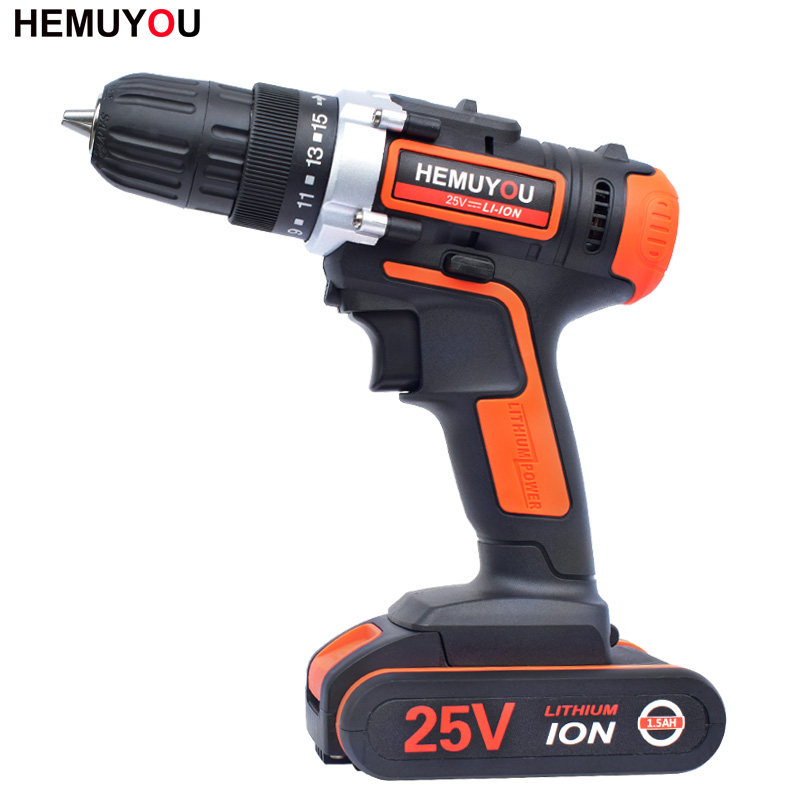 25V Cordless Drill Mini Electric Drill Multi-Function Electric Screwdriver 2 Battery 3 / 8 Inch 2 Speed  + Smart Battery Display