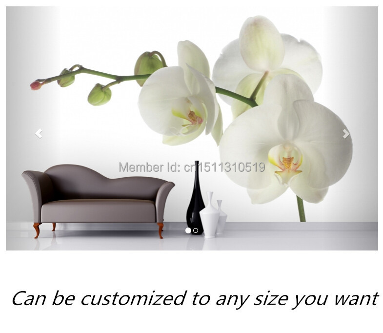 Free shipping custom mural White Orchid Wall Mural large bedroom, living room TV backdrop wallpaper wa20p cd [ rack panel 4pin 2contacts rack and panel]
