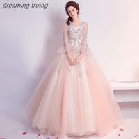Блестящее светло-розовое Пышное Платье с вышивкой Vestidos De 15 Anos платья для вечерние бальное платье для девочек 16 платьев Robe De Bal