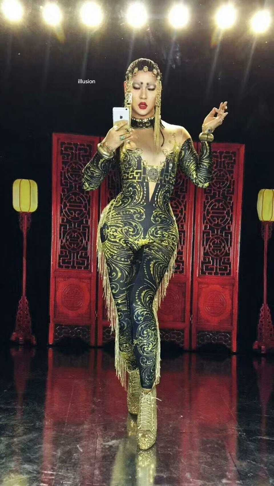Seksowny zielony kombinezon z cekinowymi pomponami damskie legginsy z nadrukiem frędzle body sukienka rhinestone kostium taneczny Stage Wear klub nocny stroje