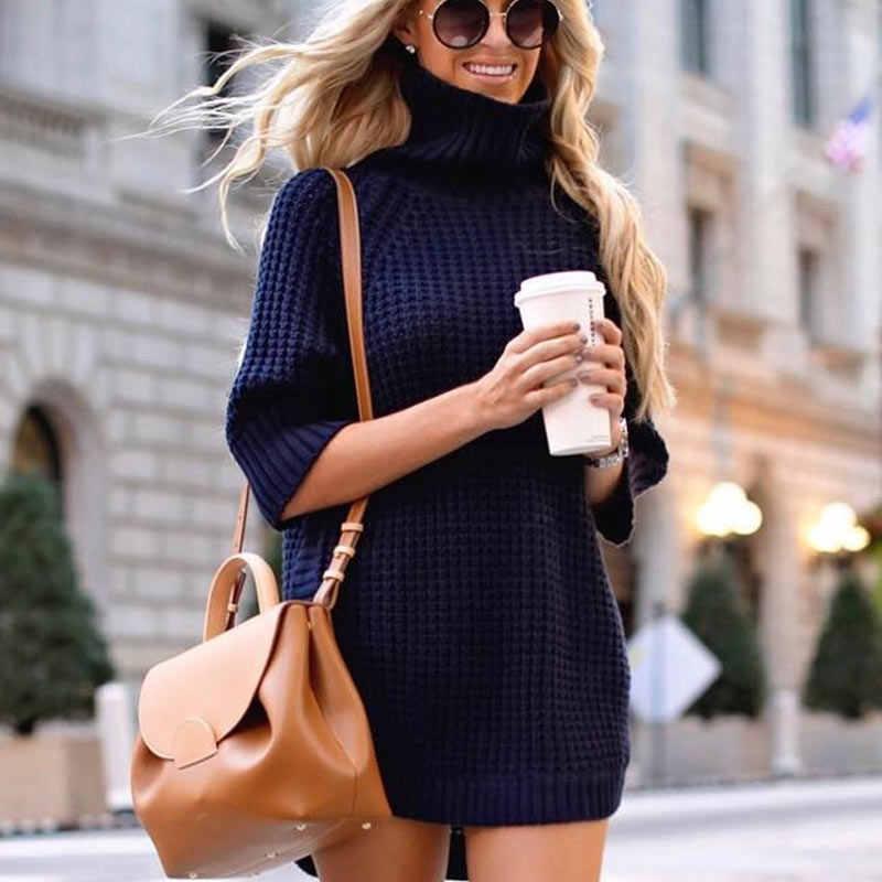 Осеннее женское платье-свитер с высоким воротником и коротким рукавом 2019, зимние сексуальные однотонные пуловеры с разрезом сбоку, элегантные женские базовые теплые платья
