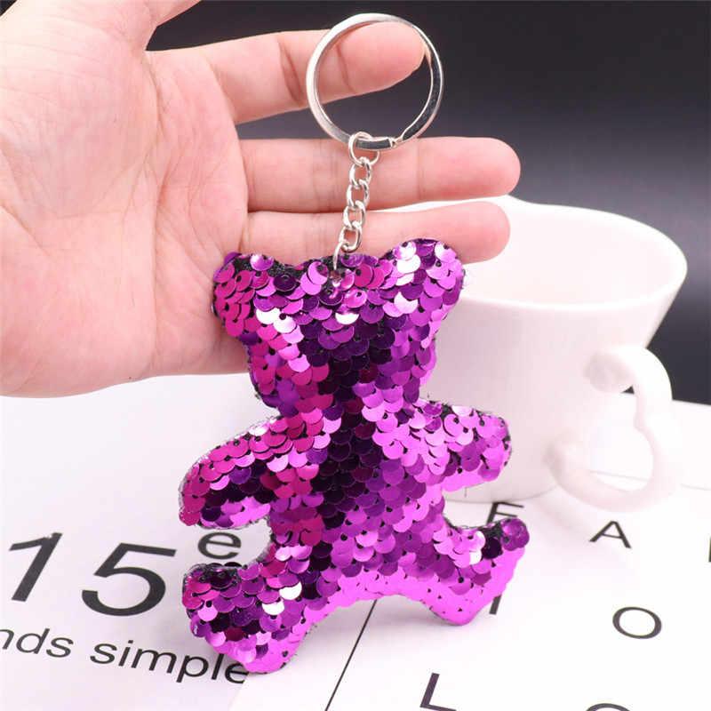 LLavero de oso Sitaicery pompón de lentejuelas llavero regalos Para mujeres Chaveiro Llaveros Para Mujer brelock Porte Clé llavero de Navidad