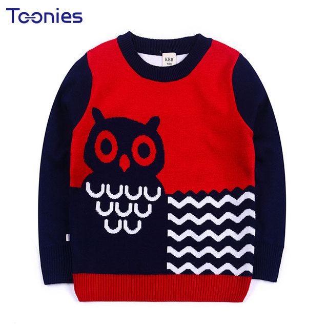 5d40359e2 Thick Knitted Cotton Boys Sweater Autumn Winter Basic Child Pullovers  Clothing Strip Cartoon Owl Pattern Sweaters Menina 3-8 Yrs