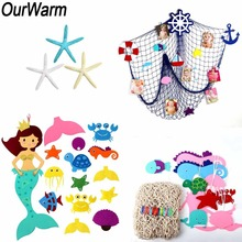 OurWarm Under The Sea Party Decorations Mermaid Game Fishing Net Artificial Starfish Marine Decoration Birthday Supplies