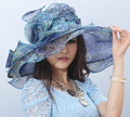 Ladies Women Organza Hat Derby Church Wedding Cocktail Evening Party Beach Dress Cap Sunmer Wide Brim Sun Hat Vintage Fedora New