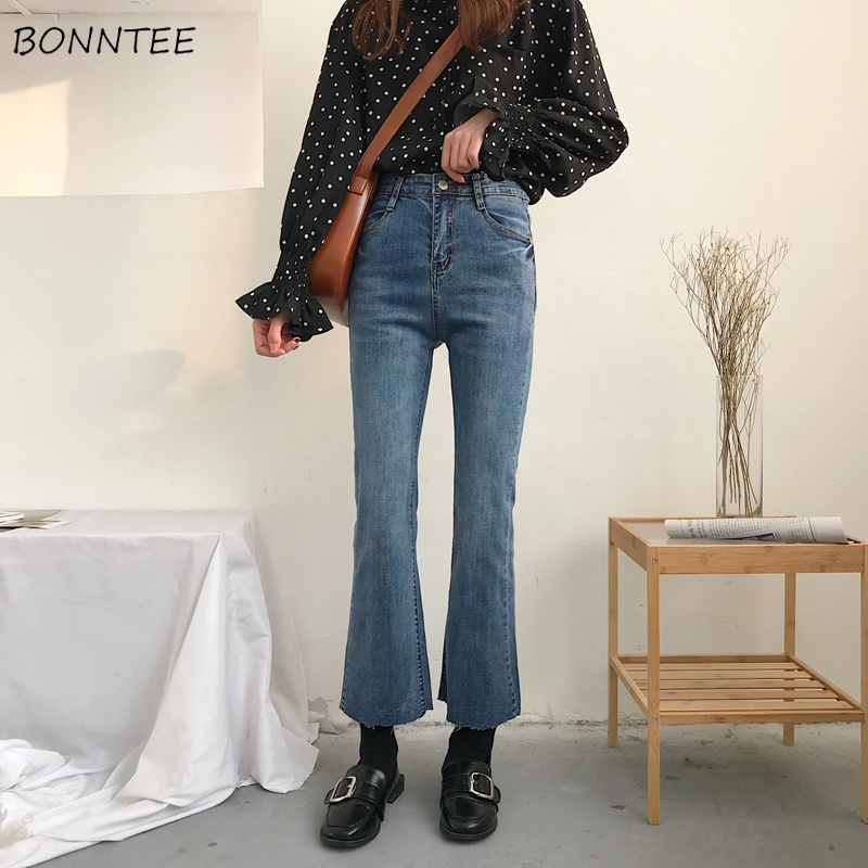 Jeans Women 2019 Retro High Waist Ankle-length Simple Womens Flare Jean Korean Style All-match Elastic Zipper Fly Trendy Daily