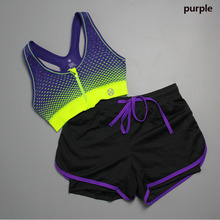Two Pieces Women Printed Sport Bra and Mesh Yoga Shorts Set Zipper Level-Four Shockproof Female Tank Tops Fitness Comfortable Cloth