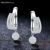 ANFASNI Fashion 925 Sterling Silver Elegant Cubic Zirconia Round Ball Women Single Clip Earring Brincos Silver