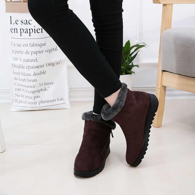 2019 frau Schuhe Frau Winter Schnee Stiefel Warme Stiefeletten Plattform Gummi Weibliche Stiefel Winter Schnee Schuhe Dame Niedrigen Ferse schuhe