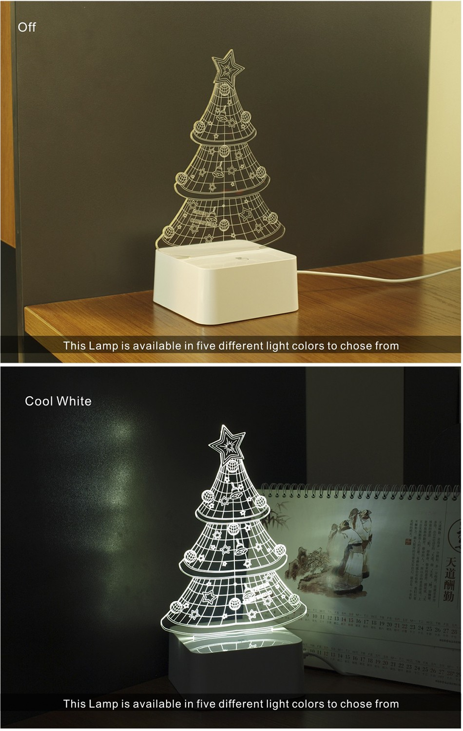 USB Night Light Star 3D led Christmas Tree Dimmable Table Lamp (3)