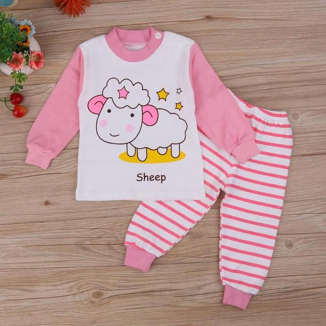bce6528e7 2pcs Set Kids Baby Pajamas Set Girls Cartoon Sheep T shirt Tops + ...