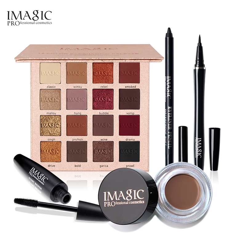 IMAGIC 5PCS Shimmer Matte 16 Colors Eyeshadow Palette Black Color Mascara Liquid Eyeliner Pencil with Eyebrow все цены