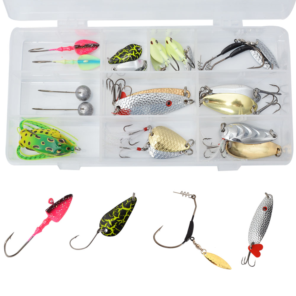 Spoon Lure Metal Fishing Lures Jig Head Hooks Winter Fishing Bait Kit Carp Pike Fishing Accessories goture ice fishing baits metal jig drop jig grub spoon 0 6 6 2g hard artificial bait carp fishing accessories lure box 40pcs