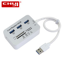 3 Port Aluminum USB 3.0 Hub With MS SD M2 TF Multi-In-1 Card Reader Hub USB Combo All In One for PC Computer Accessories