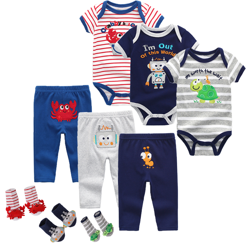 Top Baby Clothing Sets Short Sleeve Rompers Bodysuits Pant Socks 3pcs/set Roupas Infantis Menina Overalls 2019 Girls Clothes