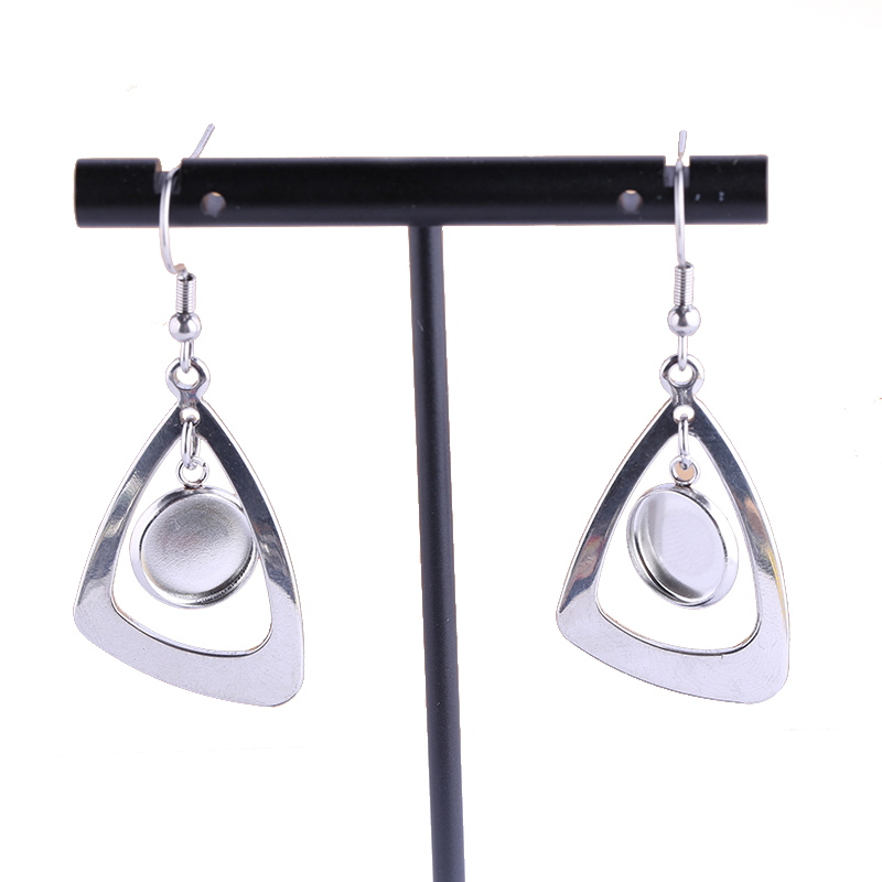 Onwear 5pairs Stainless Steel Dangle Earring Base Settings 10mm Dia Cameo Cabochon Bezel Blanks Diy Earring Hooks Findings