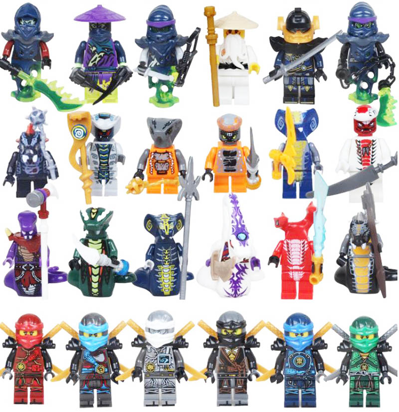 Kitoz 24pcs Ninjago Ghost Evil Ninja Pythor Chop'rai Mezmo Serpentine Army Figure Building Block Toy Compatible With Lego(China)