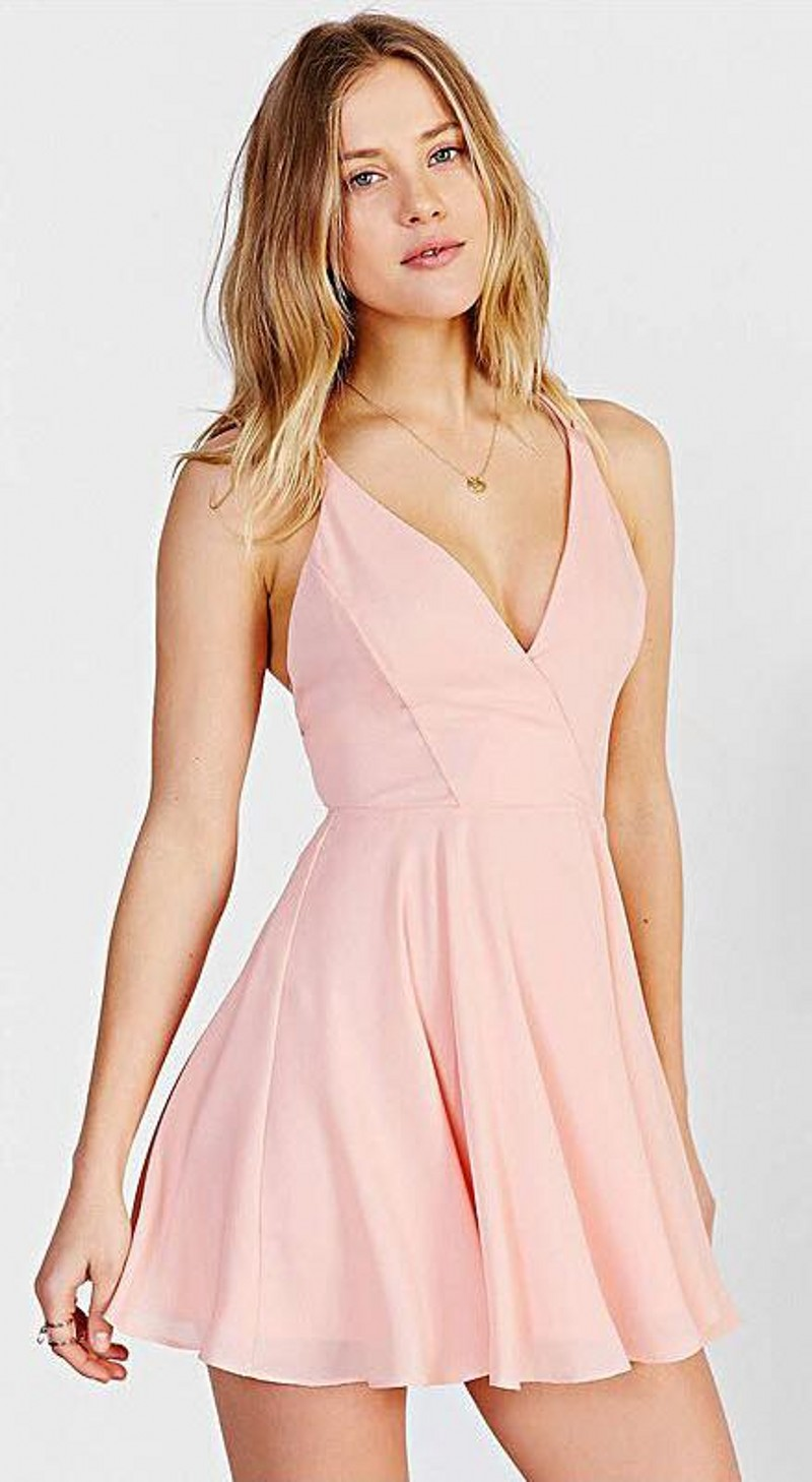 2016 Cheap Pink V Neck Homecoming Dresses with Spaghetti Strap ...
