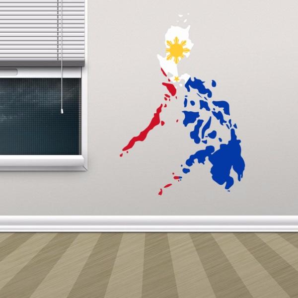 Vlajka Mapa Filipín Nástěnný vinyl Samolepka Vlastní Vyměnitelné Samolepící Domácí Dekor