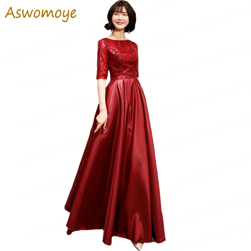 Wine   Evening     Dress   2019 New Style Spring Half Sleeve Elegant Prom   Dresses   O-neck Sequins a Line Special Occasion   Dresses