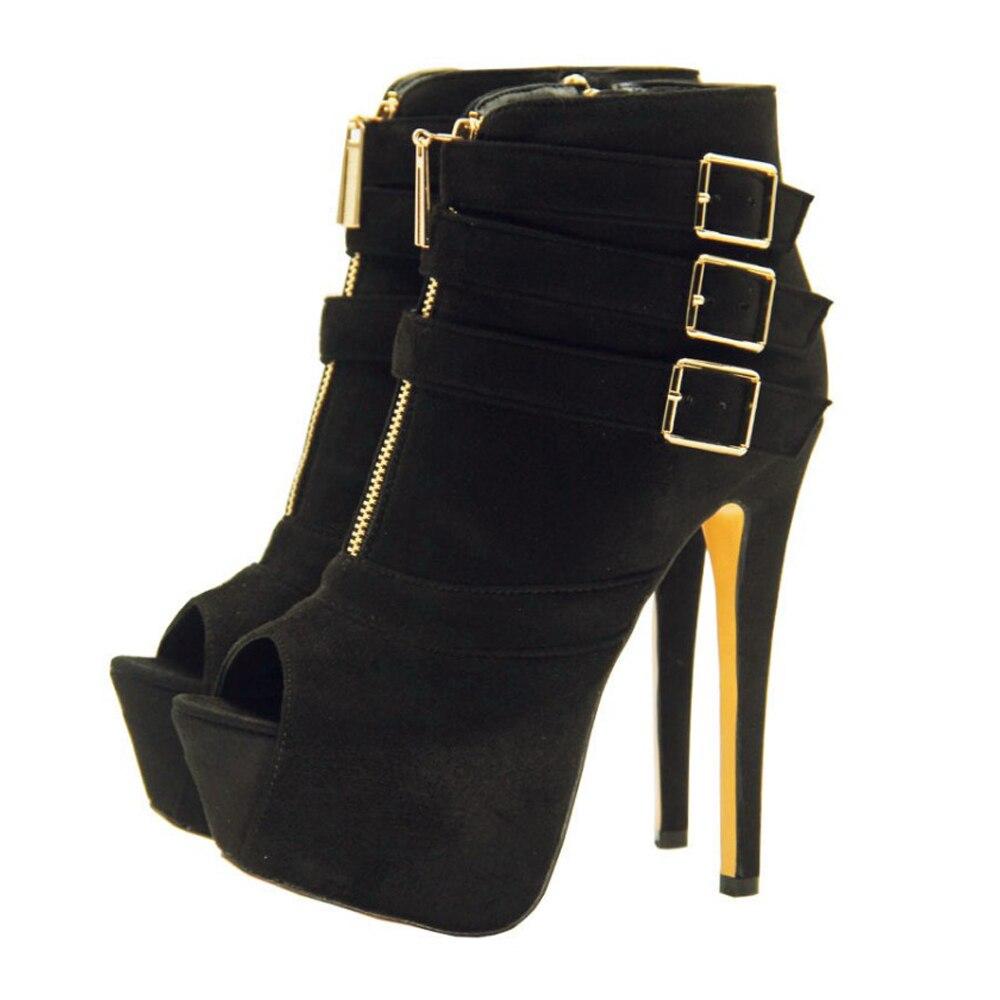 ARQA Fashion Womens High Platform Pumps Black Faux Suede Open Toe Buckle Strap High Heel Boot ShoesARQA Fashion Womens High Platform Pumps Black Faux Suede Open Toe Buckle Strap High Heel Boot Shoes