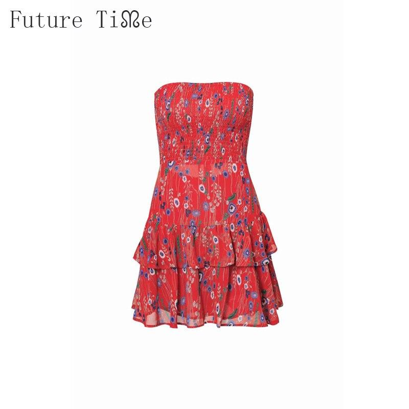 Future Time Sundress Women Summer Flower Printing Strapless Back Bandage Sexy Dress Slash Neck Ruffles Dress Women Summer DR486