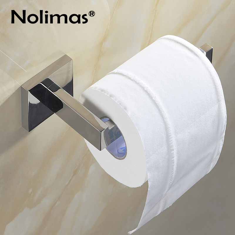 SUS 304 Stainless Steel Toilet Paper Holder Bathroom Toilet Holder For Roll Paper Towel Square Bathroom Accessories everso 2017 wall mount toilet paper holder chrome 304 sus stainless steel toilet roll paper holder bathroom accessory