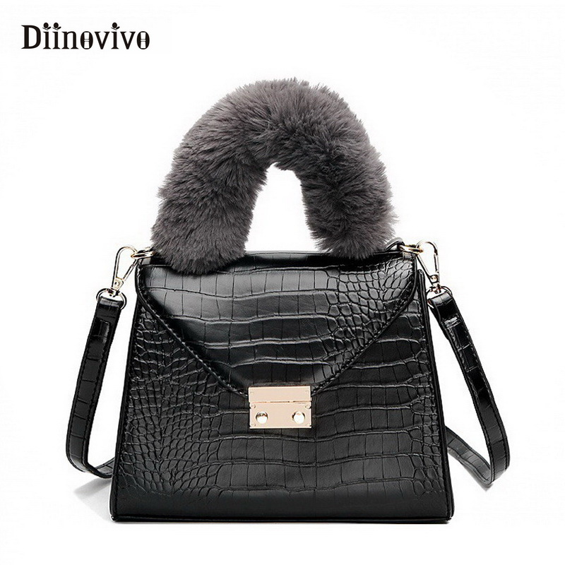 6b112ba189fe DIINOVIVO Vintage Female Handbags Alligator Luxury Leather Women Bag Famous  Brand Tote Bag New Faux Fur Top-Handle Bags WHDV0834