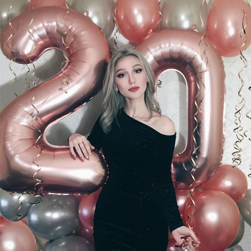 16/32/40 Inch Large Rainbow Number Foil Balloons 0-9 Year 18th 30th Birthday Party Decorations Kids Adult Helium Number Balloon