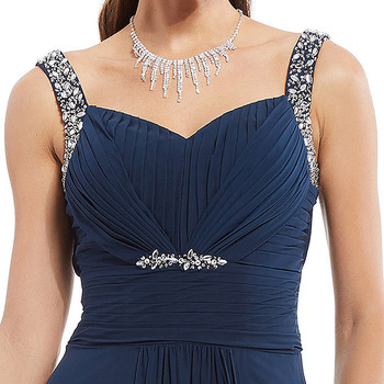 Dressv dark navy long evening dress cheap beading ruched sleeveless wedding party formal dress a line evening dresses 6