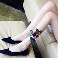 Summer mulheres collants bonito branco black lace 3d borboleta impresso stretchy meias coxa alta meias sexy meia-calça meias femininas
