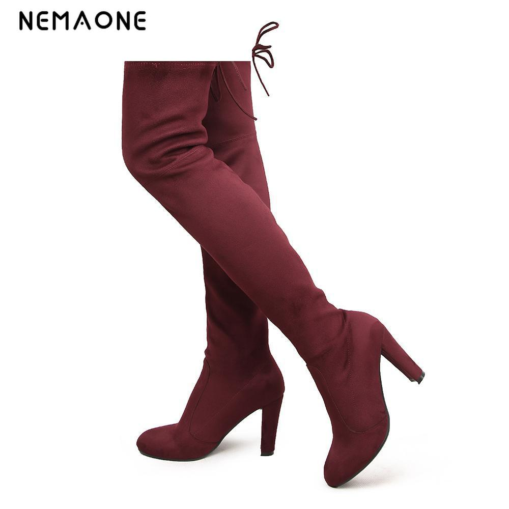 NEMAONE Womens Stretch Suede Over the Knee Boots Sexy Fashion Slim Thigh High Boots Chunky Heels Plus Size Shoes Woman suede chunky heel womens thigh high boots