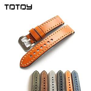 Кожаный ремешок для часов TOTOY, кожаный ремешок для часов из итальянской кожи 18, 19, 20, 21, 22, 23, 24, 26 мм, прошитый вручную