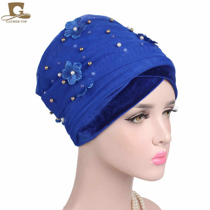 Yeni 3D çiçek boncuklu uzun örgü kadife türban başkanı Wrap nijeryalı turban şık başörtüsü kadınlar afrika başörtüsü bayanlar Turbante