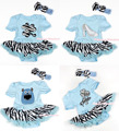 Light Blue Bodysuit Jumpsuit Romper Zebra Pettiskirt Baby Dress Headband NB-18M MAJS0056
