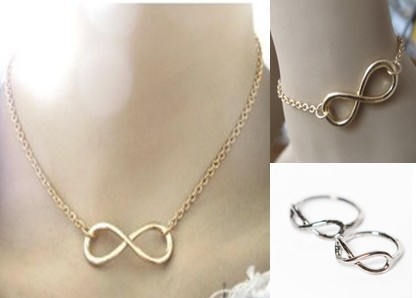 FreeShipping Vintage Infinity Design Necklace Bracelet Ring Jewelry