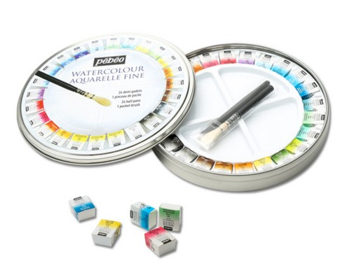 Pebeo 12/24colors Solid Water Color Paint Art Watercolor Pigment Watercolor Round Tin Solid Watercolor Art Set with brush watercolor solid pigment paint set 24 colors with a separate palette and a water painting brush for art drawing