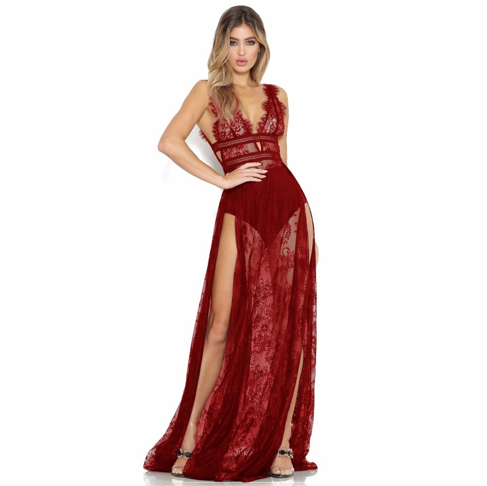 ff25b3809984 Vestidos de encaje transparente de pestañas Maxi vestido de fiesta de Club  de mujer Sexy cuello en V sin mangas abierto espalda alta hendidura ...