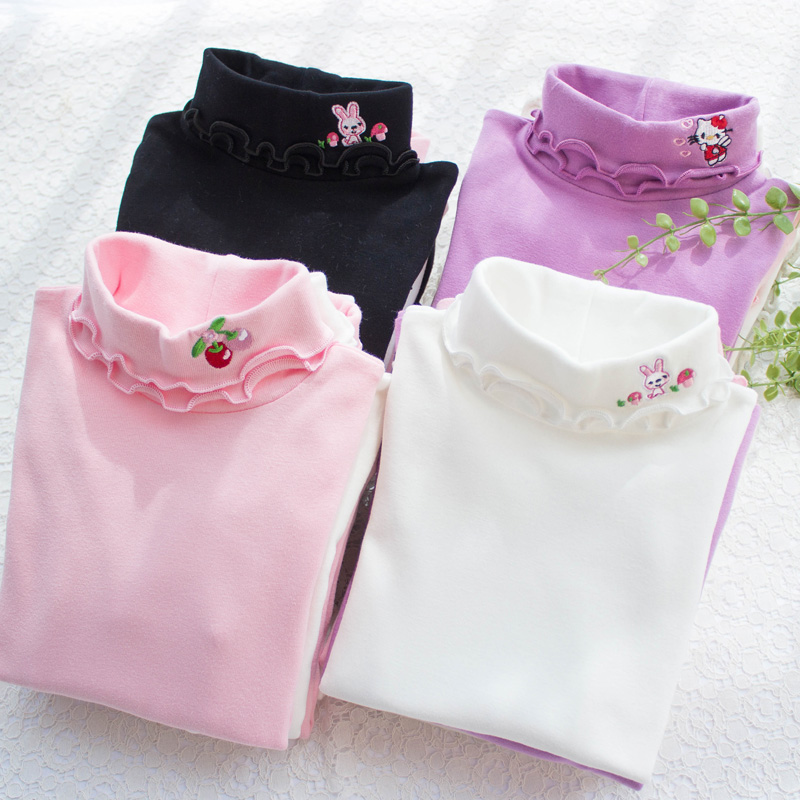 Kids Bottom T shirts For Girls Solid Cotton Long Sleeve Turtleneck T shirt For Girls Casual
